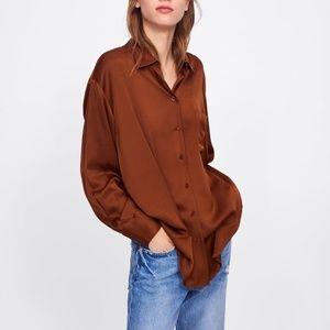 Zara Brown Satin Shirt With Pocket